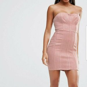 NaaNaa Suede strapless dress with corset detail